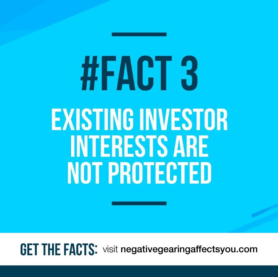 Negative gearing #Fact 3: Existing investors are not protected